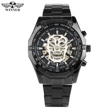 Unique Skull Dial Automatic-self-winding Watches for Men Analog Mechanical Watch for Male Black Stainless Steel Band Watches jargar brand automatic fashion dress wristwatch round dial mechanical watches with stainless steel band for men