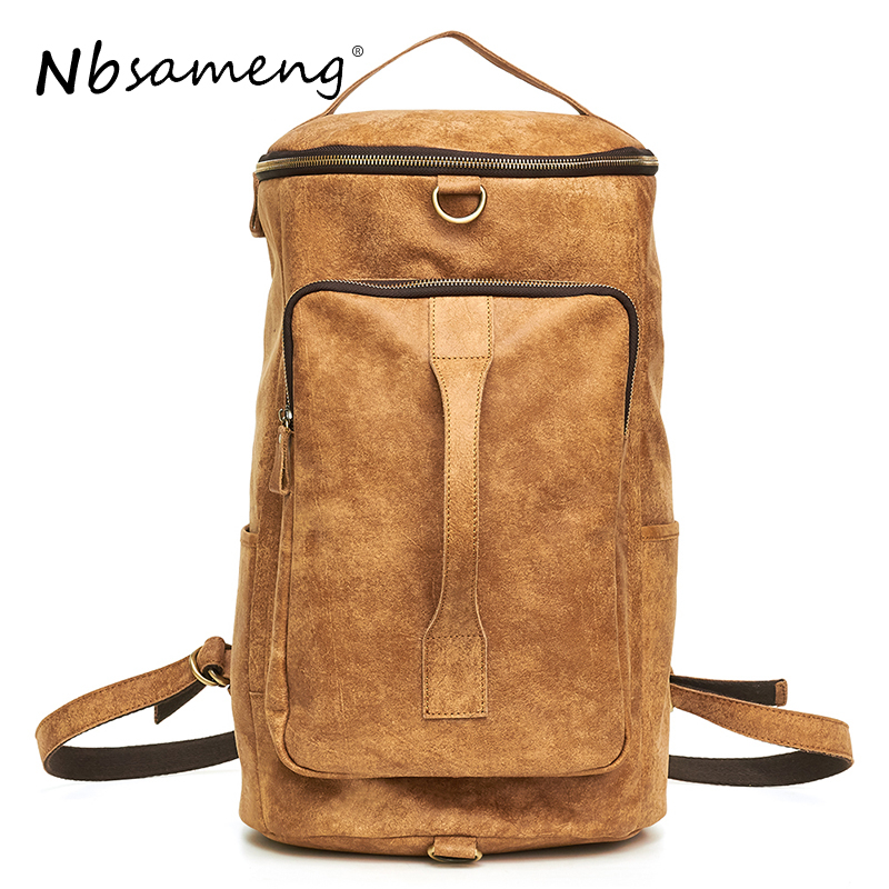 NBSAMENG New Arrival Genuine Leather Backpack Male Travel Backpack Multifunctional Men Laptop Backpacks Business Bolsa Masculina new arrival 100% excellent genuine leather laptop backpacks 7202i 1