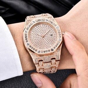 Image 3 - DropShipping חדש 2020 בלינג יהלומי שעון גברים אייס מתוך יוקרה Mens קוורץ שעונים איש שעוני יד כסף פלדת Relogio Masculino
