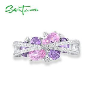 Image 2 - SANTUZZA Silver Rings For Women Genuine 925 Sterling Silver Shimmering Amethyst Pink Cubic Zirconia Trendy Luxury Fine Jewelry