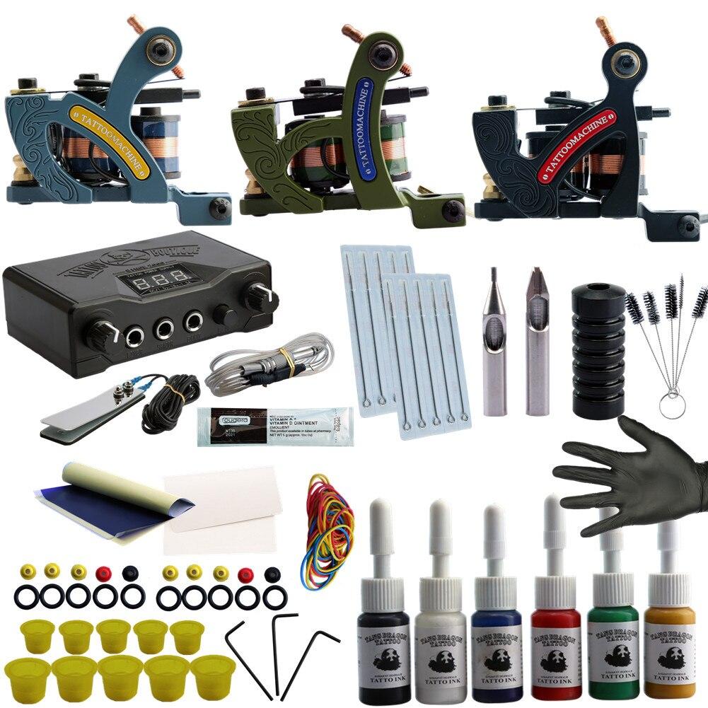 все цены на Complete Tattoo Kit Tattoo Machine Gun Tattoo Paints Ink Pigment Set LCD Power Supply Permanent Make Up Tattoo Accessories Set онлайн