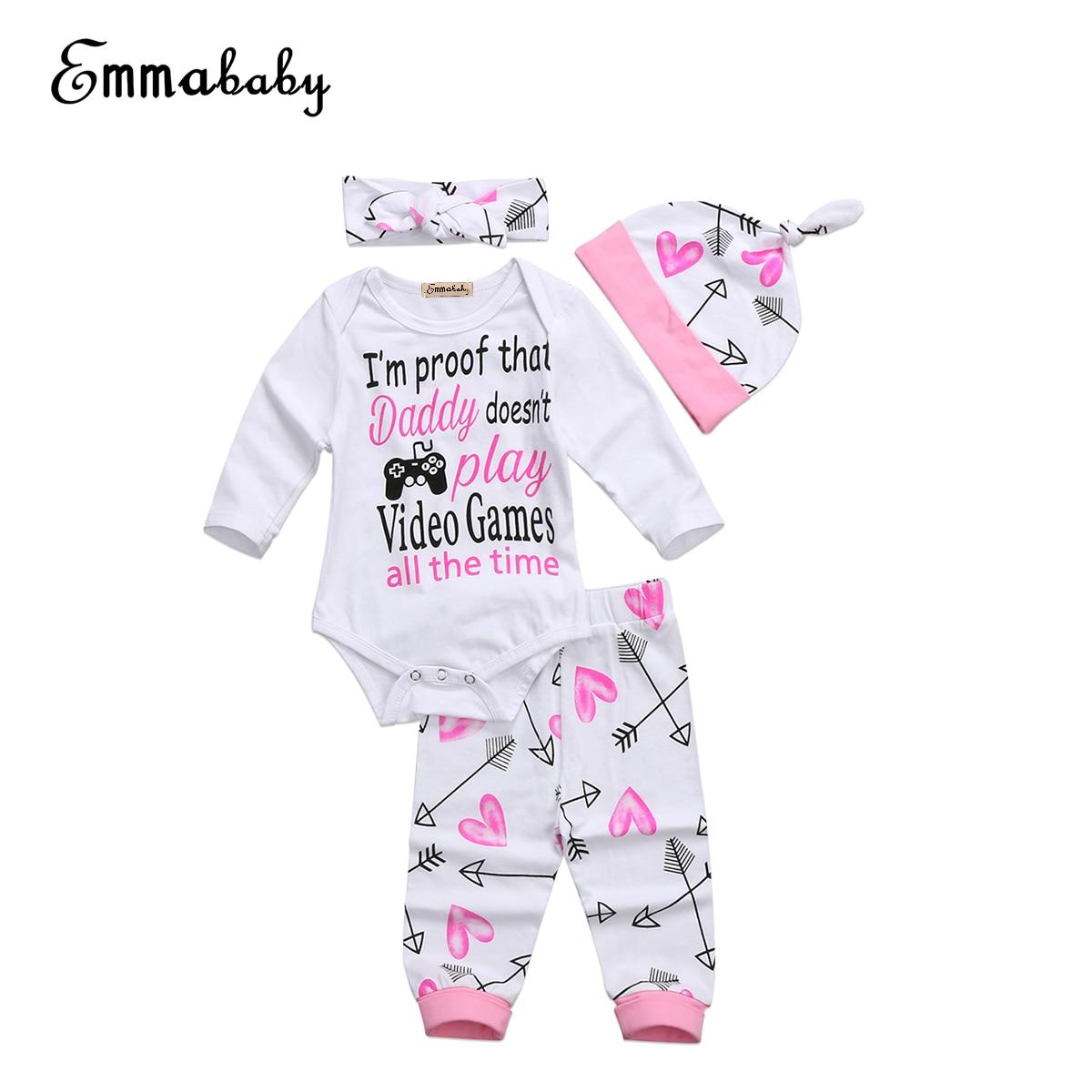 Для новорожденных 4 шт. Костюмы комплект наряд для девочек Комбинезон + длинные штаны + шляпа Комплекты одежды От 0 до 2 лет
