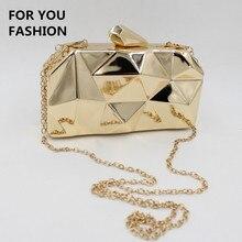 Kostenloser Versand New Fashion frauen Kupplung Luxus Metall Design Hochzeit Abendgesellschaft Handtasche Schultertasche Schwarz Gold Silber