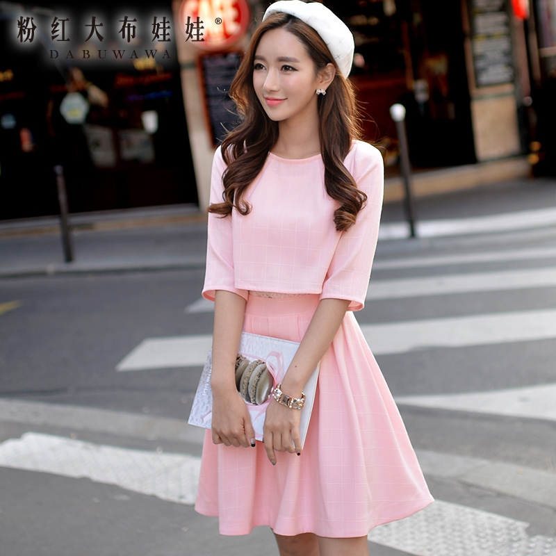 1b0b17e64561 DABUWAWA Lace Dress 2016 Spring and Autumn Preppy Style False Two Pieces  Casual Short Light Pink Plaid Dresses Women Wholesale-in Dresses from  Women's ...