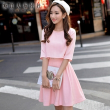 DABUWAWA Lace Dress 2016 Spring and Autumn Preppy Style False Two Pieces Casual Short Light Pink Plaid Dresses Women Wholesale