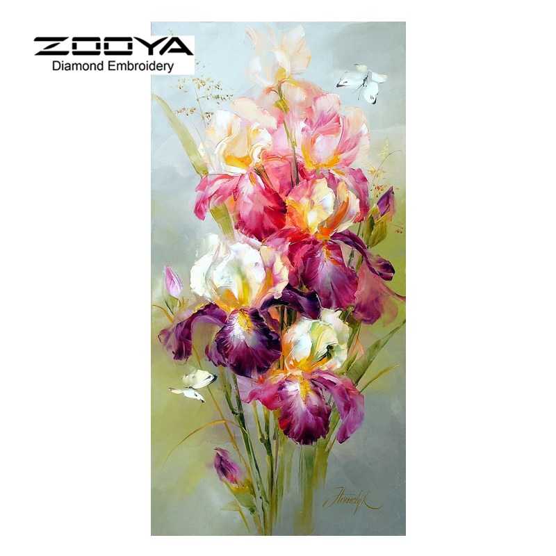 Products For Crafts Diamond Embroidery Flowers Colorful Iris Painting Rhinestones Mosaic Kit Pictures Of Crystals Pattern BJ332