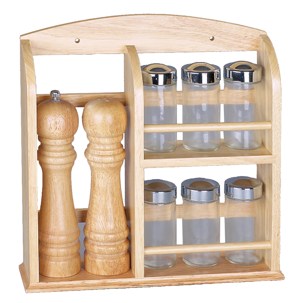 Salt and pepper pepper mill kitchen wooden spice rack with for Kitchen tool set of 6pcs sj