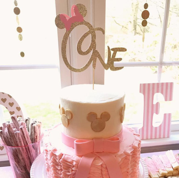 One Birthday Cake Topper Mouse With Pink Bow Gold Glitter Topper