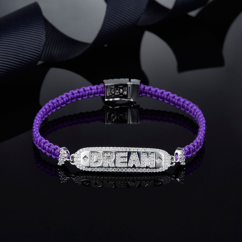 SLJELY Luxury Brand 925 Sterling Silver Letter DREAM Violet Macrame Bracelet Pave Zirconia Women Fashion Woven