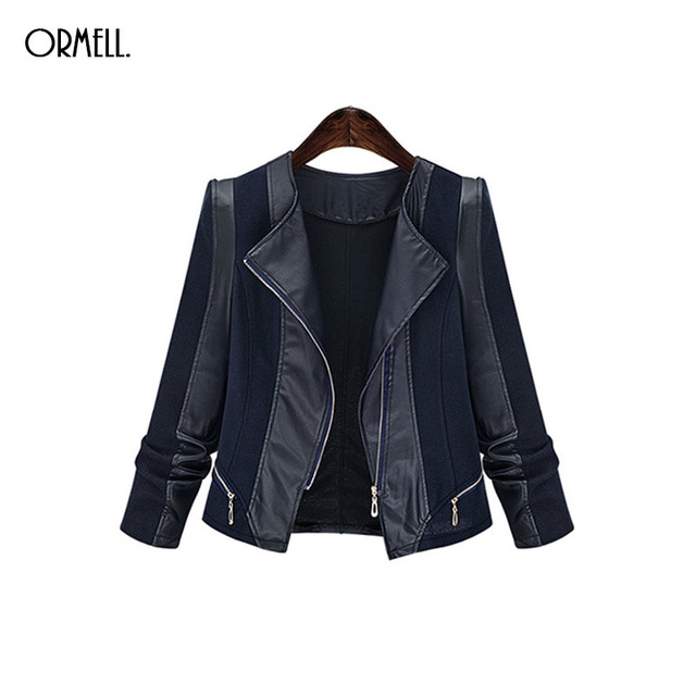 aed10594ba1d7 ORMELL New Ladies Motorcycle PU Leather Jacket Stylish Coat Hot Long Sleeve  Outwear Casual Slim Brand Zipper Tops Wholesale