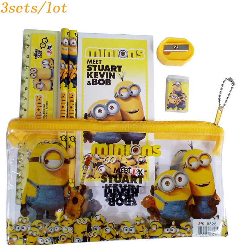 3sets/lot minion high quality pencil case cute Kids school supplies stationery set cartoon pencil case Bag study supplies cartoon pencil case