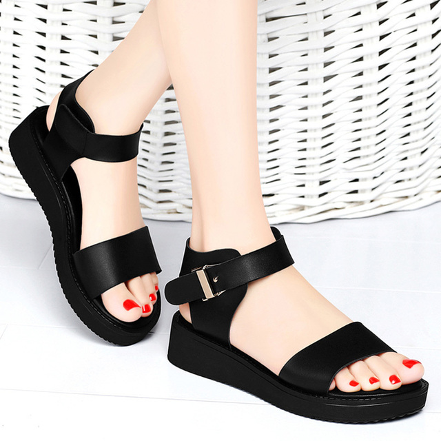 Fashion Concise Comfortable Casual Sandals Trend Open Toe Ankle Strap woMen  Flats Shoes Black White Plus