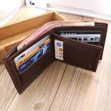 THINKTHENDO Fashion Men's Short Leather Wallet ID Credit Card Holder Billfold Purse Clutch Male Mini Letter Print Photo Wallet