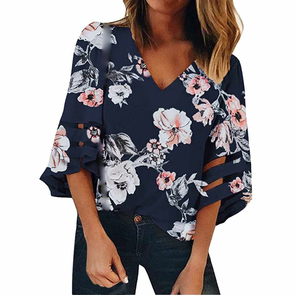 MUQGEW Women's V Neck Floral Mesh Panel Blouse 3/4 Bell Sleeve Casual Summer Loose Top Harajuku Shirt Clubwear