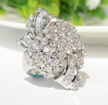 New  Arrival Flower inlaid AAA+ zircon ring luxury wedding bridal set women fashion jewelry gifts