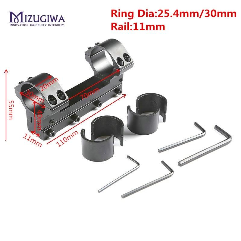 MIZUGIWA 25.4mm/30mm Doppi Anelli di Un Pezzo Portata Del Fucile di Montaggio Picatiiny A Coda di Rondine Adattatore Guida Del Tessitore di 11mm pistola Airsoft