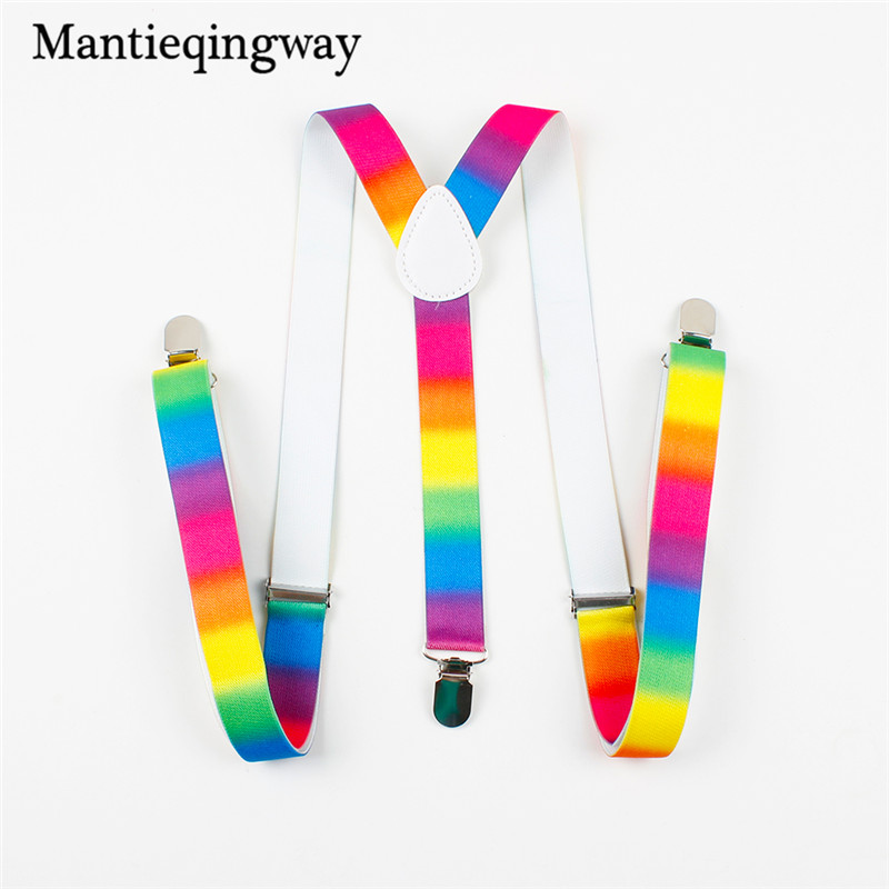 Mantieqingway Colorful Kids Elastic Suspenders Men Belts Straps Braces High Quality Mens 3 Clip-on Suspenders Adjustable Braces