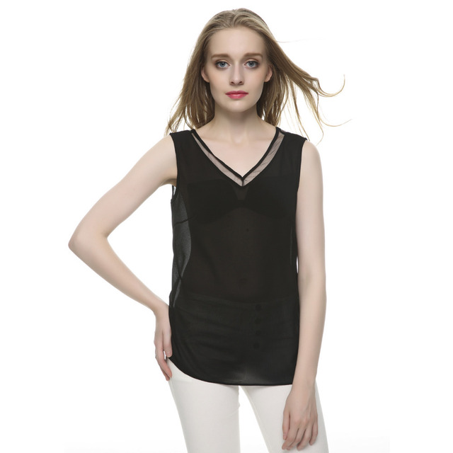 Women summer tops V neck chiffon sleevelsss sexy blouses Blusas Feminina casual slim brand tops low price WT09