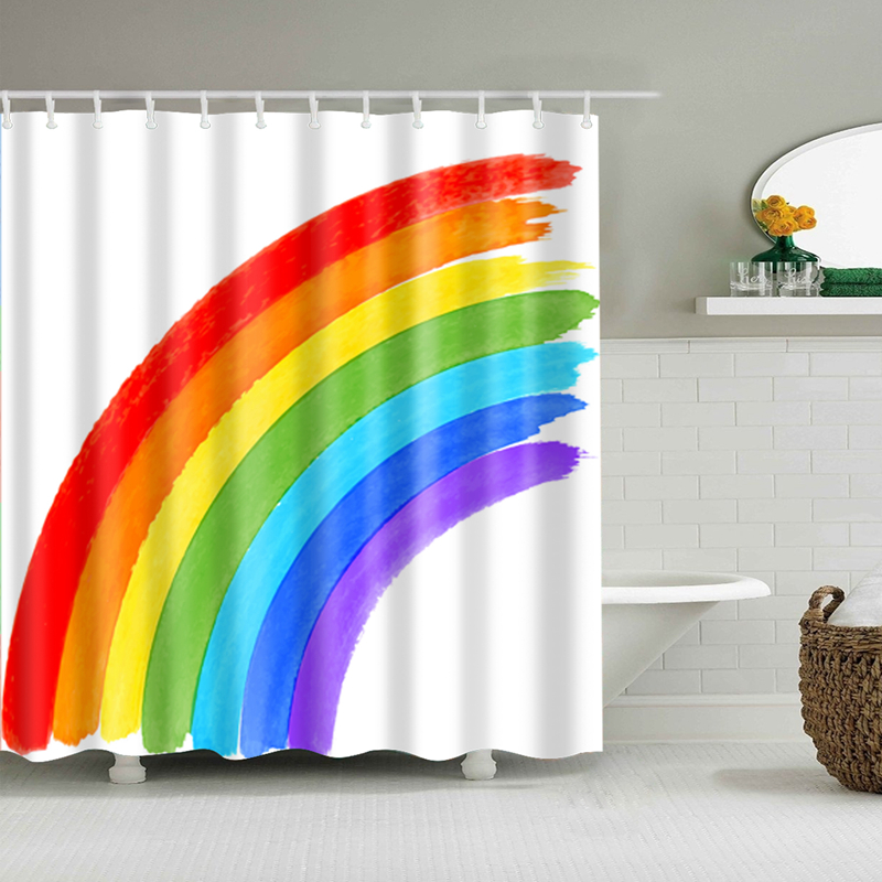 Hookless Brand Shower Curtain.Customized Shower Curtain Geometry Rainbow Waterproof Polyester Bathroom Curtains High Quality Curtains For Bathroom Water