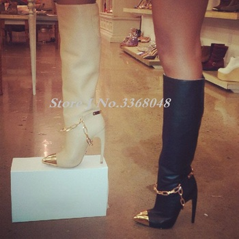 New Beige Black Leather Women Fashion Knee High Boots Sexy Metal Chain Design Golden Sequined Pointed Toe Long Woman Boots