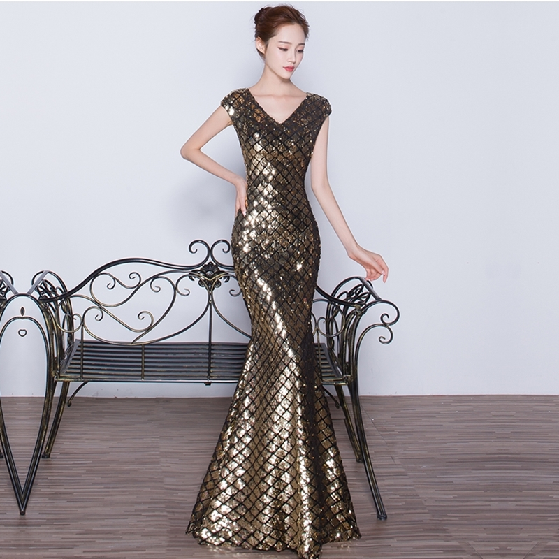 Elegant Luxury Evening Dress 2018 Floor Length Gowns Silver ...
