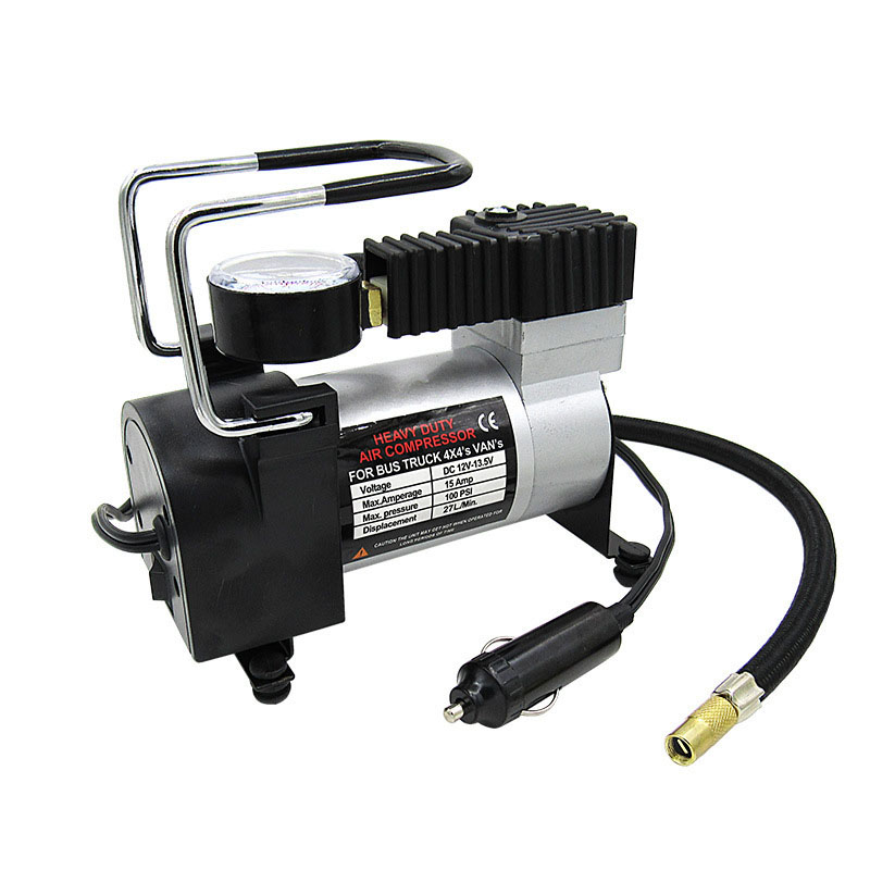 12V Portable Car Tyre Inflator Pump 15A 27L/min Air Compressor Electric Tire Inflator Pump for Auto Bicycle Motorcycle dc 12v portable electric air pump air bed mattress boat car auto air inflatable pump for camping inflator with 3 nozzles mayitr