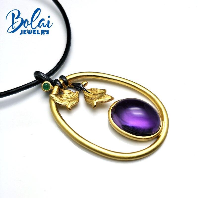 Bolaibijoux, chef-d 'œuvre saisir arbre feuilles pendentif naturel bon lustre africain améthyste et émeraude 925 argent pendentif collier