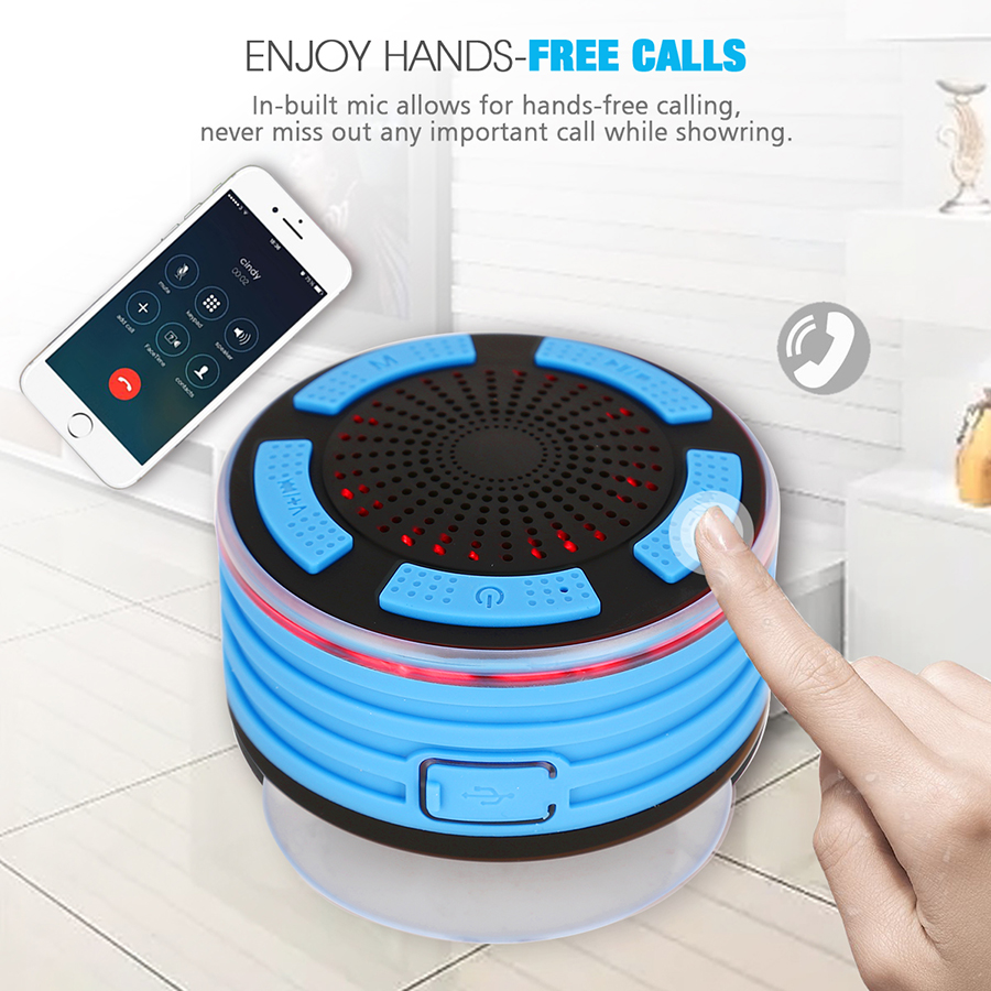 Portable Mini Bluetooth Speaker Rezistent la apa Bluetooth Difuzor Radio FM Difuzor de duș LED pentru iPhone Samsung Xiaomi Telefon Laptop