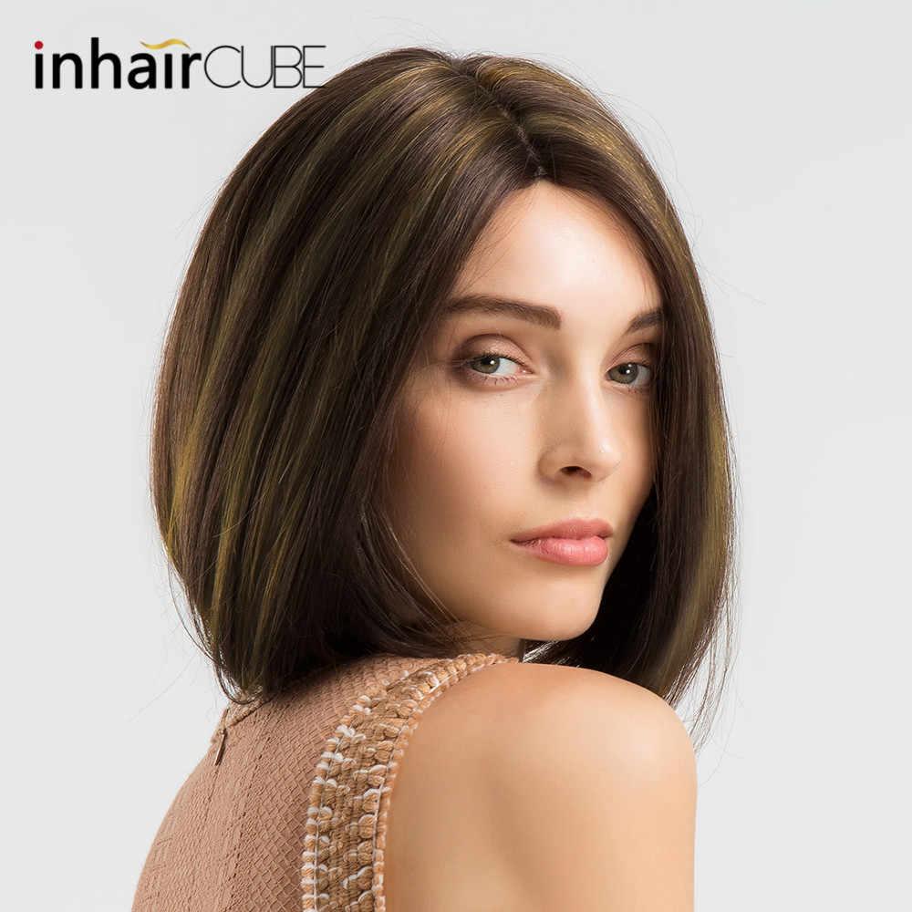 INHAIR cube синтетическая смесь короткие прямые волосы кружевной парик без клея Боб ручная связка средняя часть смешанные цвета коричневый парики для женщин