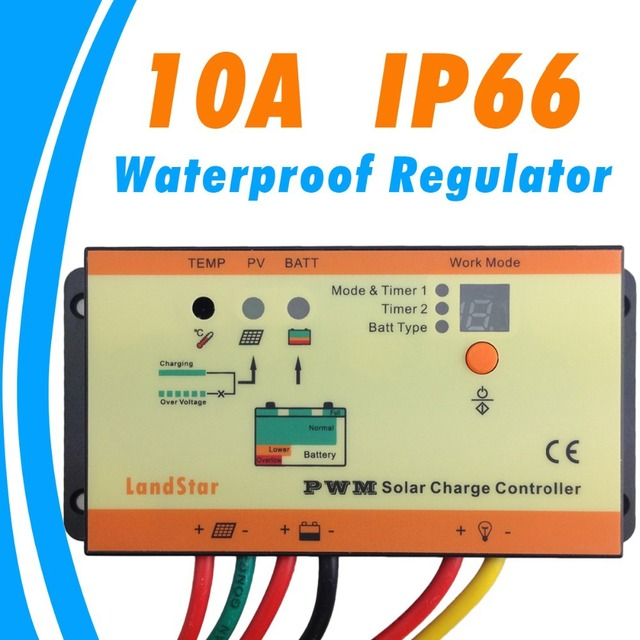 10A solar Charge controller IP66 waterproof dual timer control with light control 12V 24V battery charge regulator
