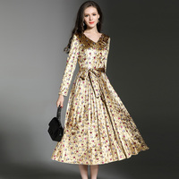 HANZANGL 2018 Spring New V Collar Velvet Printing Pleated Dress Retro Elegant Temperament Frenulum Dresses S