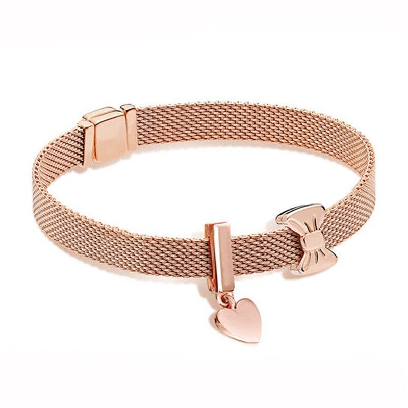 Nouveau 100% 925 Bracelet en argent Sterling réflexions ensemble arc en or Rose élégant Fit européen bricolage Original charme perle bijoux cadeau