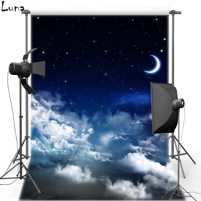 Moon White Cloud Vinyl Photography Background Night Sky Oxford Backdrop For Children photo studio Free Shipping send rolled sunny sky backdrop vintage white cloud blue sky printed fabric photography background f0150