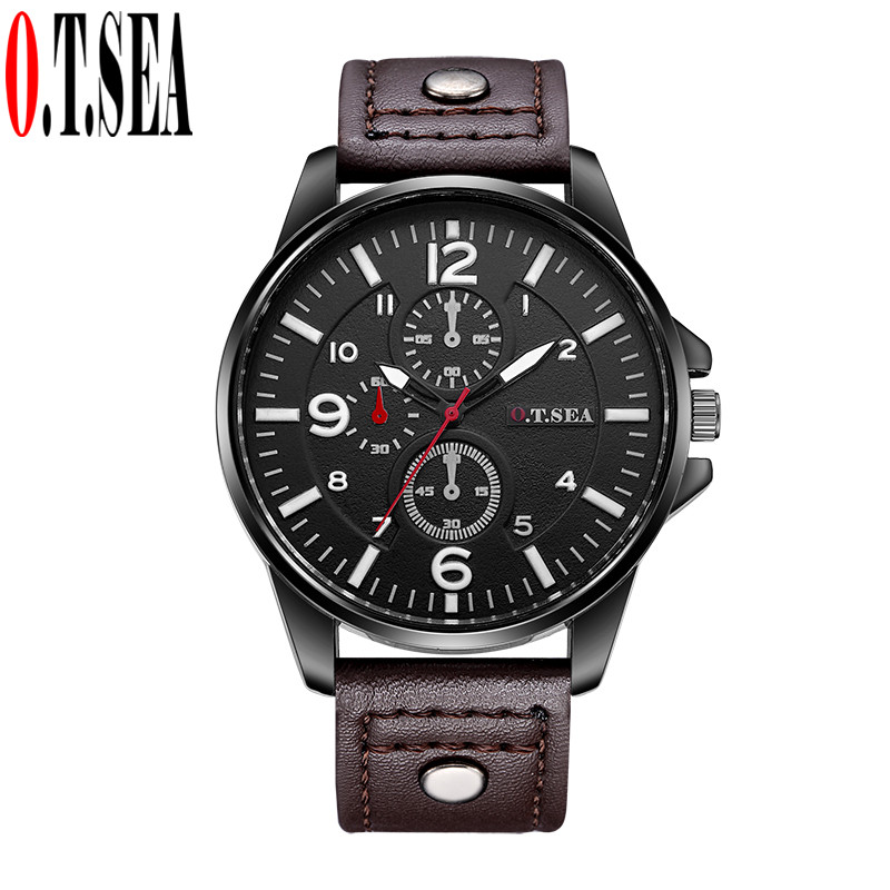 Hot Sales O.T.SEA Brand Pu Leather Watches Men Military Sports Quartz Wristwatch Relogio Masculino 8164 free drop shipping 2017 newest europe hot sales fashion brand gt watch high quality men women gifts silicone sports wristwatch