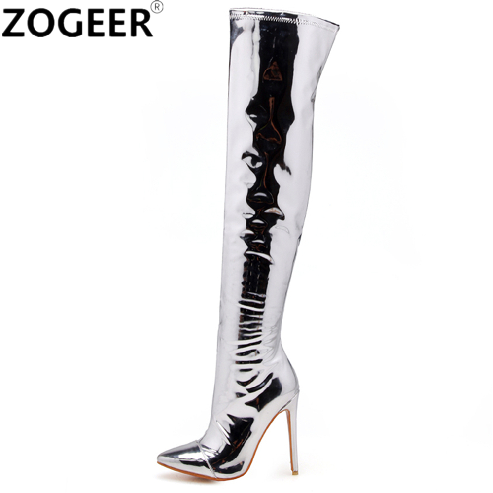Plus Size 48 Women Thigh High Boots Fashion Patent Leather Over The Knee Boots Sexy Nightclub Dance Ladies Silver Fetish Shoes plus size 43 new women thigh high boots fashion over the knee boots sexy high heels ladies nightclub party shoes woman