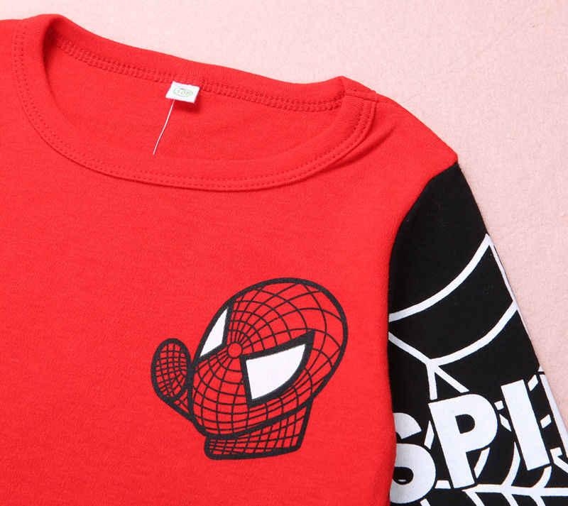 Pudcoco Novo Criança Crianças Meninos Homem Aranha Camisetas Encabeça Camiseta de Manga Longa Roupas do homem-Aranha Traje das Crianças roupas
