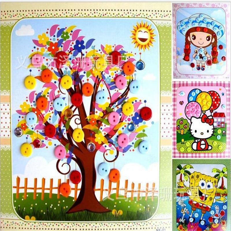 10pcslot children diy handmade paste painting cartoon puzzle games for children baby kids educational