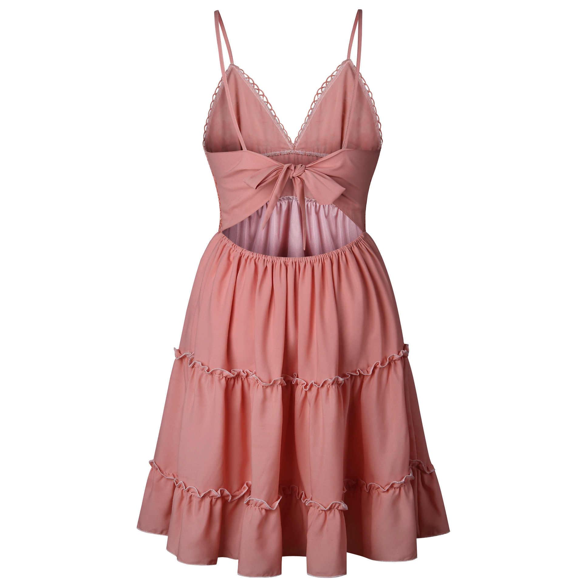 331d82f0f88 ... Summer Women Lace Dress Sexy Backless V-neck Beach Dresses 2018 Fashion  Sleeveless Spaghetti Strap ...