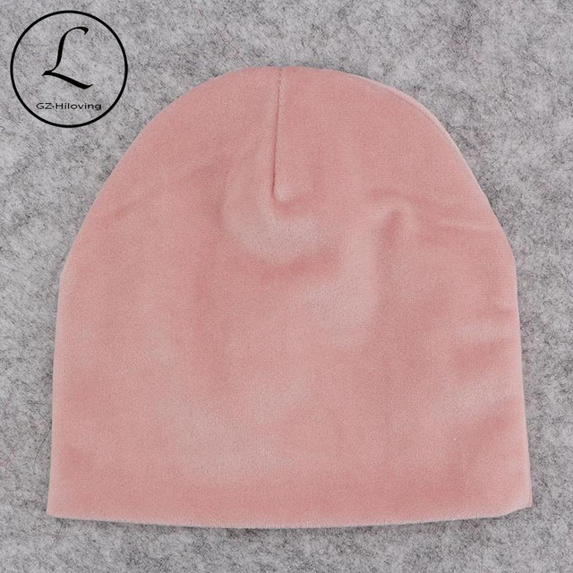 cf728b7e615 GZhilovingL Newborn Baby Boys Girls Velour Beanies Hats for Winter Autumn  Infants Toddlers Soft Solid Caps Hair Accessories Gift