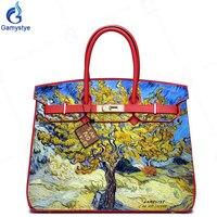 Hand Art Paint Jasmine Yellow Tree Real Cowskin Leather bags handbags Women Shoulder Messenger Bags High Quality Padlock Purses