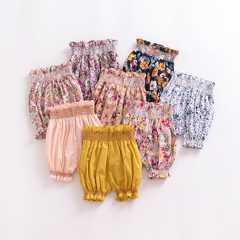 New Fashion Summer Baby Girls Lantern Shorts Kids Flower Patterns Pants Children's Trousers Cotton Hot Pp Short Newborn Clothes