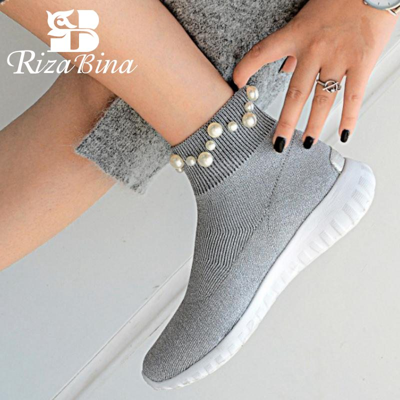 RizaBina Women Ankle Boots Winter Elastic Knitting Sock Boots Woman String Bead Shoes Simple Flats Fashion