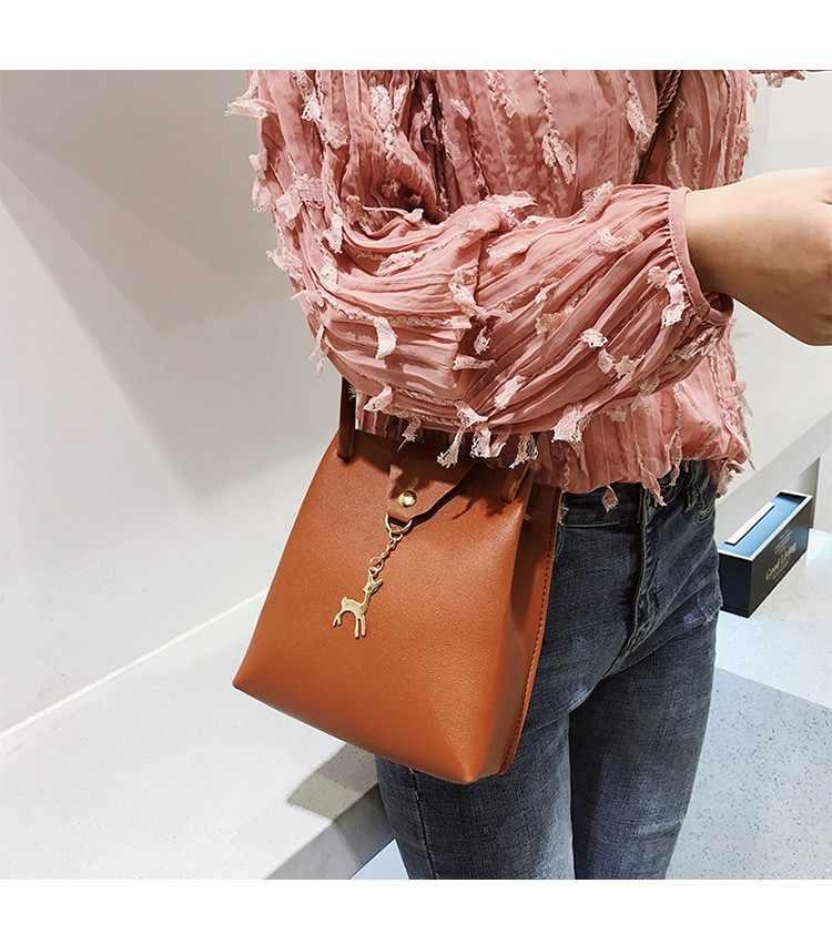 Модная женская маленькая сумка Новая корейская модная тенденция с оленем простая повседневная сумка через плечо дикая мини женская 7 цветов на выбор PU сумки