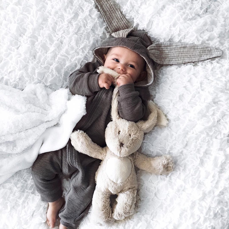fall spring toddler Newborn Infant Baby clothing Girl Boy 3D Ear gray rabbit Romper Jumpsuit Outfits cosplay halloween Costume
