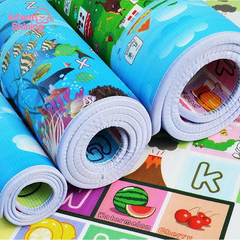 Infantile Brillanti Bambini Crawling Puzzle Gioco Zerbino 200X180X2 cm Del Bambino di Spessore A doppia faccia Schiuma Zerbino salire Pad Tappeto di Trasporto Libero