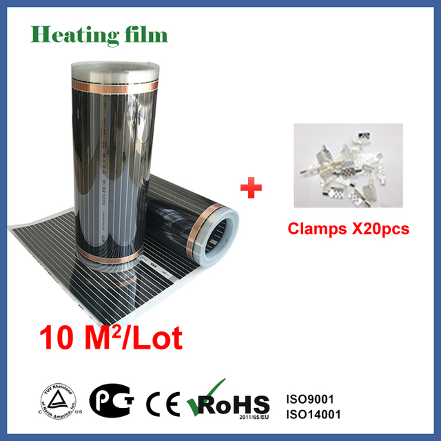 TF Far infrared floor heating film 10 square meters, 220V carbon fiber floor heating film with connecting clamps