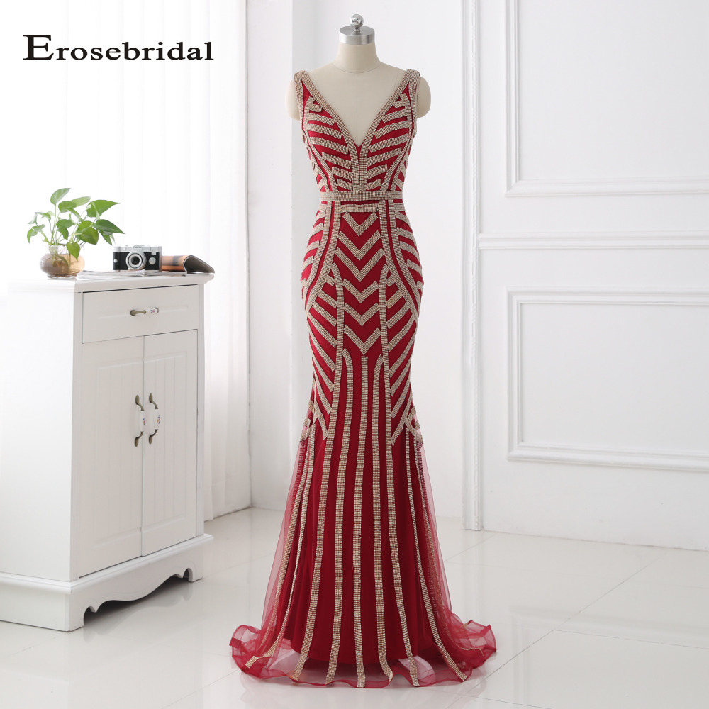 Erosebridal 48 Hours Shipping Burgundy Long Evening Dress Plus Size Mermaid Evening Gowns Gold Crystal Vestido