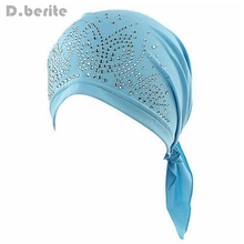 Женская предварительно завязанная шапка после химиотерапии, шарф, шапка, Шапочка-тюрбан, бандана, головной убор для рака, выпадения волос, подарок для дам QDD9074