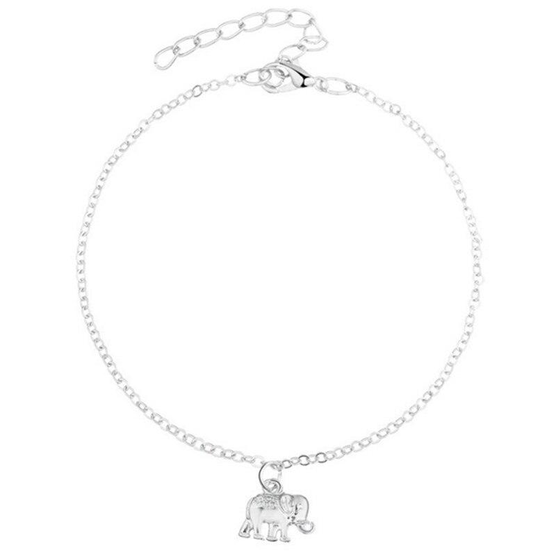 1*Trend all-match Silver Golden Color ankle bracelet charm foot jewelry Simple metal elephant pendant leg chain & women's anklet