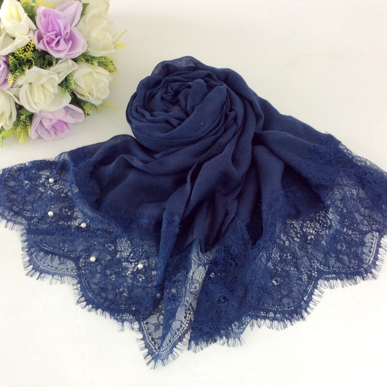 Beads Pearls Luxury Lace Fashion Style Plain Cotton Wrap Muslim Head Scarves Hijab 10pcs /lot